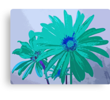 Painterly Flowers in Teal and Blue Pop Art Abstract Canvas Print