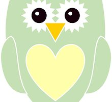 Light Green Owl with Yellow Heart by ChristianMugs