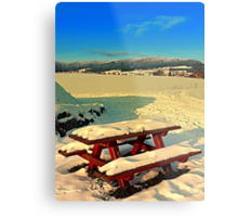 Table and bench in winter scenery | landscape photography Metal Print