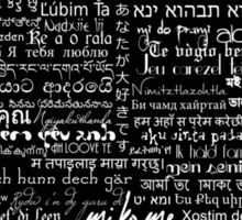 Typographic multi language I love you heart Sticker