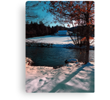 River across winter wonderland | landscape photography Canvas Print
