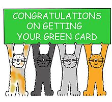 Congratulations on getting your green card, cartoon cats. by KateTaylor