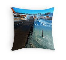 Winter road into far distance | landscape photography Throw Pillow