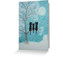 Cats in Tree with Snow and Moon Greeting Card