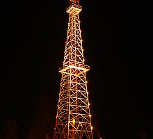 Oil Derrick at Night by John Kroetch