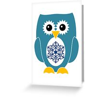 Blue Owl with Snowflake Greeting Card