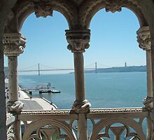View of 25 do April Brige from Belem Tower by presbi