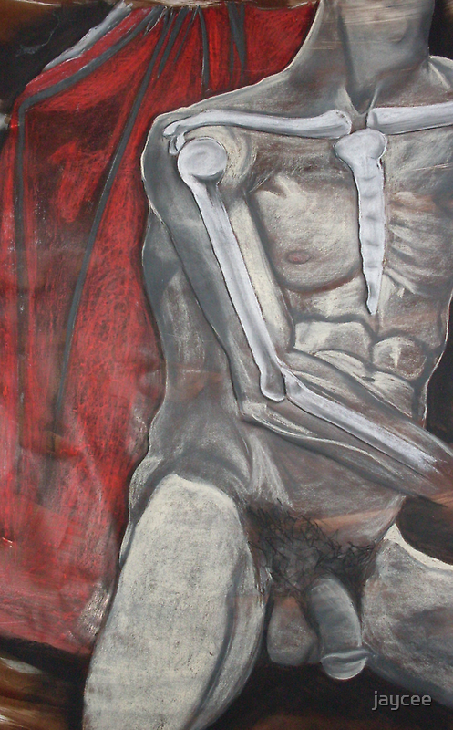 Male nude with some skeletal structure by jaycee