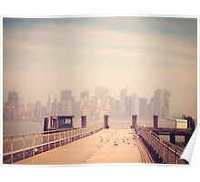 Vintage view of Manhattan from the pier Poster