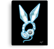 White Rabbit Earphones Canvas Print