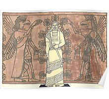 gel pen drawing of ashurnasirpal and eagle-headed men Poster