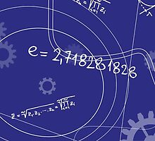 Mathematical Geometry Signs On Blue Background by NBeauty