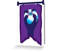 BANNER CREST SIGIL Purple claws grasping a white opal blue orb Greeting Card