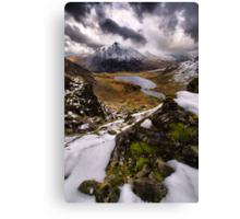 Snowy View of Llyn Idwal Canvas Print