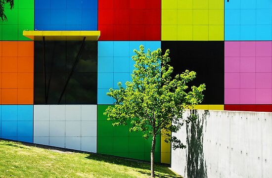 Coloured Squares and Green Tree by Janet Leadbeater