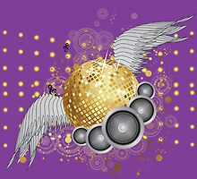 Gold disco ball with wings by AnnArtshock