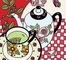 Green Tea and Rhododendrons by genevievem