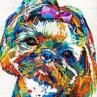 Colorful Shih Tzu Dog Art by Sharon Cummings by Sharon Cummings