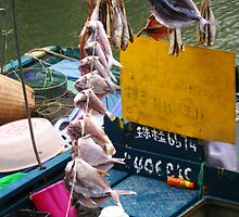 Tai O fishing boat with string of fish by pAgEdOwN