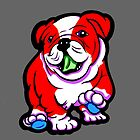 Happy Bulldog Puppy Red and White  by Sookiesooker