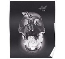 Surreal Charcoal Drawing of Glowing Skull with Rose and Moths Poster