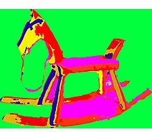 Rocking Horse in Green Photographic Print