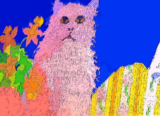 Pink cat on a patio table by ♥⊱ B. Randi Bailey