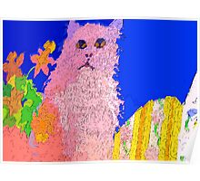 Pink cat on a patio table Poster