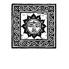 Sun God Linocut - Card by Yvette Bell