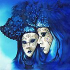 Blue masks by Sherry Cummings