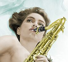 Donna's sax Colourised by nixa