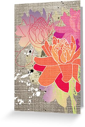Gingerflower Card on Grey by Tiffany Atkin
