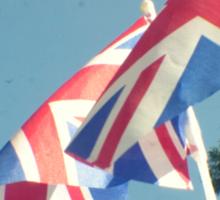 Flags - Union Jacks in a blue sky Sticker