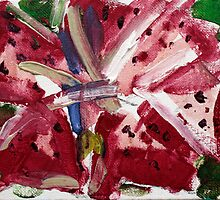 Red  Daffodils - Acrylic on Canvas - 5 x 7 in - FOR SALE - $ 75 by Elle Gamboa