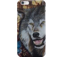 Wolf with blue butterfly iPhone Case/Skin