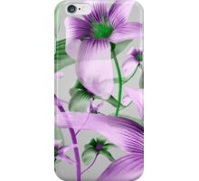 Lilies Collage Art in Green and Violet Colors iPhone Case/Skin