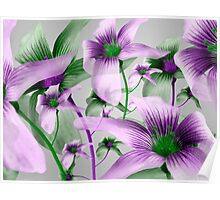 Lilies Collage Art in Green and Violet Colors Poster