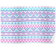 Tribal pattern pink blue Poster