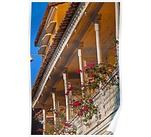 Columbia. Cartagena. Balcony with Flowers. Poster