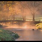 Misty Morning Autum on Saucon Creek by Bridges