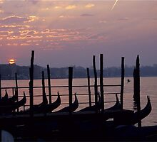Gondolas at Sunrise in Venice by Michael Henderson