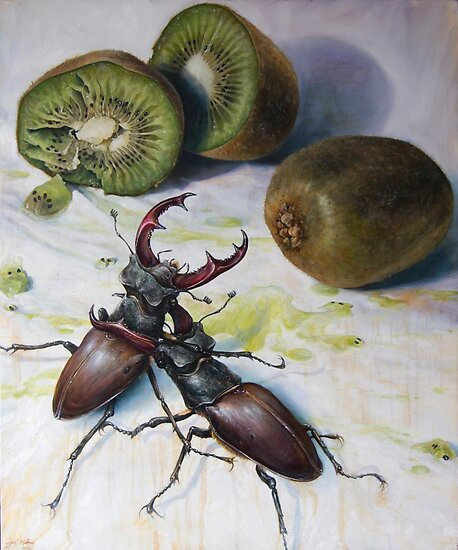 """"""" Kiwis and Stag Beetles ( Struggle for Constancy)"""" by Joe Helms"""