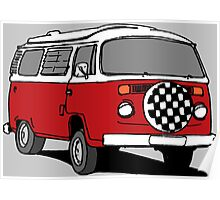 Red Vee Dub Bus Poster