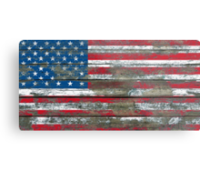Flag of United States on Rough Wood Boards Effect Metal Print