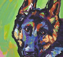 German Shepherd Bright colorful pop dog art by bentnotbroken11