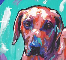 Rhodesian Ridgeback Bright colorful pop dog art by bentnotbroken11