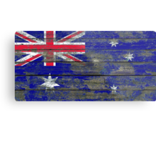 Flag of Australia on Rough Wood Boards Effect Metal Print