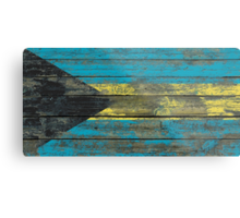 Flag of Bahamas on Rough Wood Boards Effect Metal Print