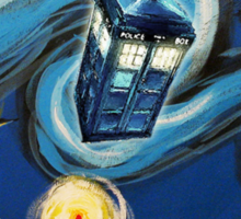 Blue Tardis Starry Night Sticker