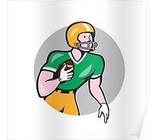American Football Player Rusher Circle Retro Poster